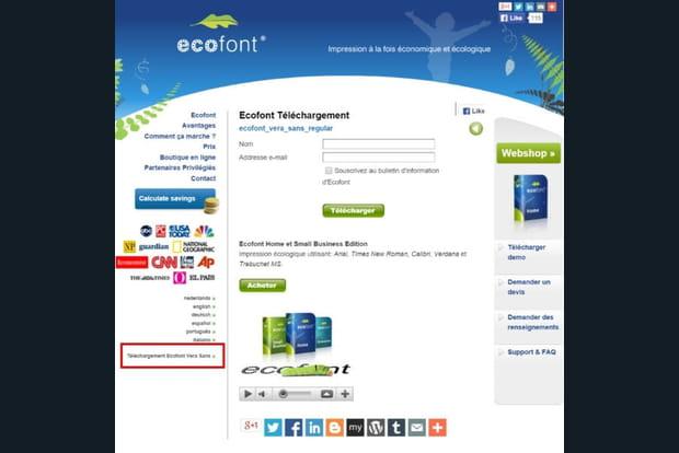 Installer Ecofont, une police perforée pour consommer moins d'encre