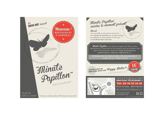 Bmc-Minute Papillon  - flyer café 1 euros -   © minute papillon