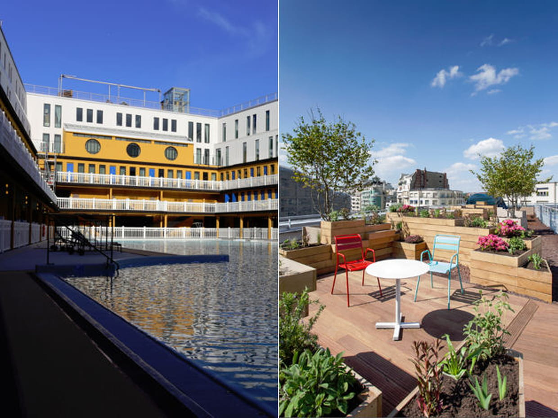 du haut du toit terrasse de la piscine molitor. Black Bedroom Furniture Sets. Home Design Ideas