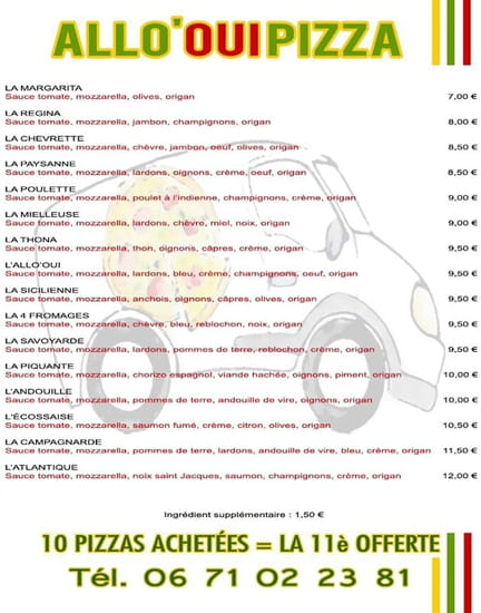 ALLO'OUI PIZZA  - Menu 2016 -