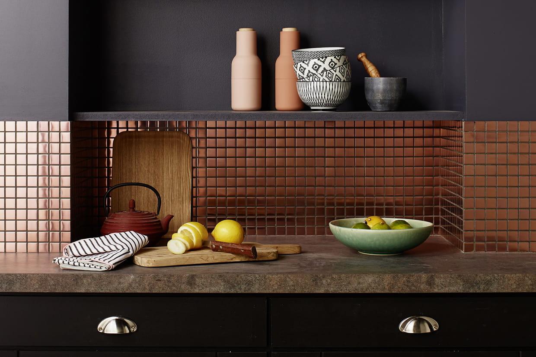 le cuivre prot ge les murs de votre cuisine avec style. Black Bedroom Furniture Sets. Home Design Ideas