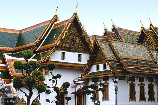 Un temple aux dragons d'or sur le toit