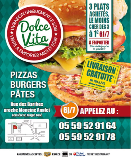 , Restaurant : Dolce Vita Anglet  - A l'emporter -   © Dolce Vita Anglet