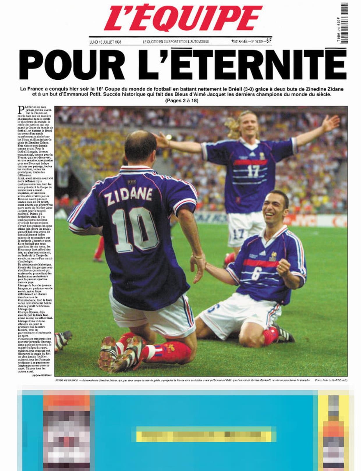 France br sil 1998 pour l 39 ternit - Coupe du monde 1994 equipe de france ...