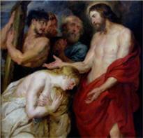 le christ et la femme repentie. rubens.