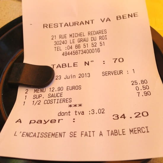 Restaurant : Va Bene  - Addition -