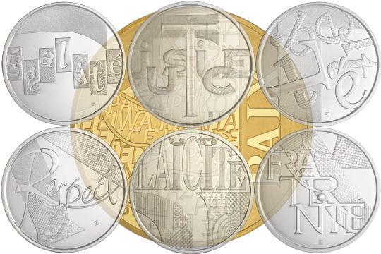 Pièces d'euros en or et en argent 2013: valeurs de la République