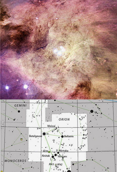 au-dessus : la nébuleuse d'orion est une des formations stellaires les plus