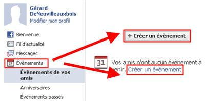 copie d'écran de la fonction créer un évènement sur facebook.