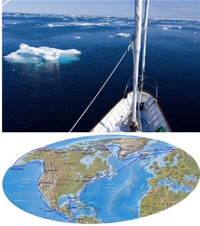 l'expédition s'accompagne de 21 étapes à terre.