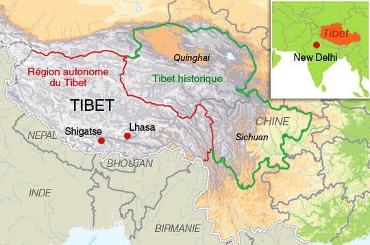 Carte Chine Et Tibet.Carte Du Tibet