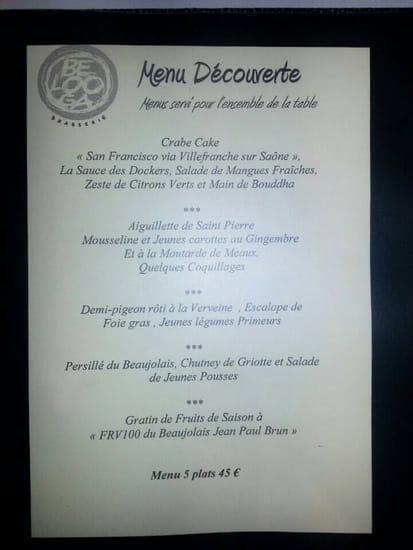 Restaurant : Belooga  - Exemple menu découverte -