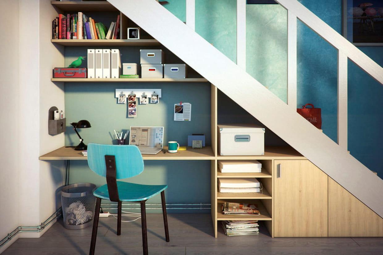 un coin bureau sous l escalier. Black Bedroom Furniture Sets. Home Design Ideas