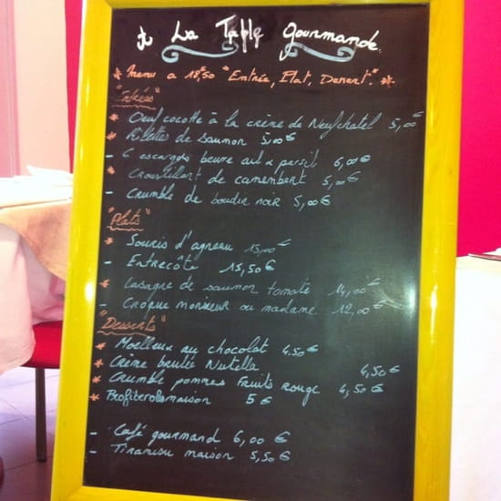 Restaurant : A la Table Gourmande  - Menu -