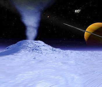encelade est le sixième satellite naturel de saturne et mesure seulement 500 km