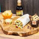 Plat : Tex A Way  - Menu muchito, tortillas chips et guacamole maison, muffin maison et bière brune mexicaine -   © #TEXAWAYOFLIFE