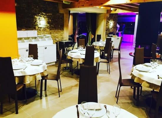 Restaurant : Le Millésime  - Salle de restaurant avec cheminée centrale -