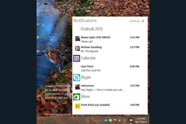 Un centre de notifications digne d'un mobile