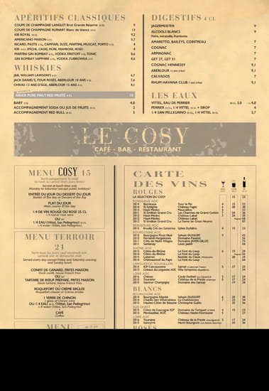 Restaurant : Cosy  - Carte estIvale - juin 2017 -   © Cosy
