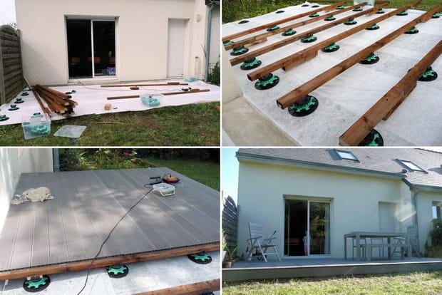 Suivez la construction d 39 une terrasse en bois composite for Construction terrasse bois youtube