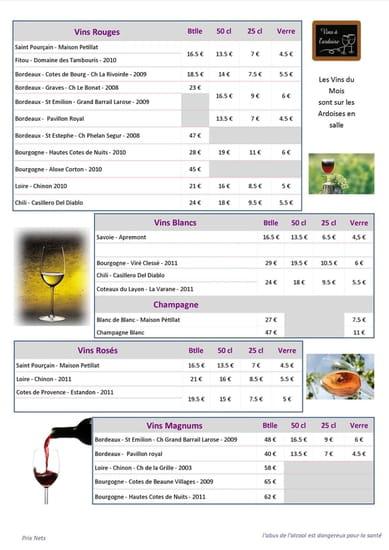 L'Osmose  - carte des vins -   © restau.osmose