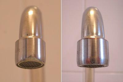 le robinet avant et après le nettoyage destiné à éliminer le calcaire.