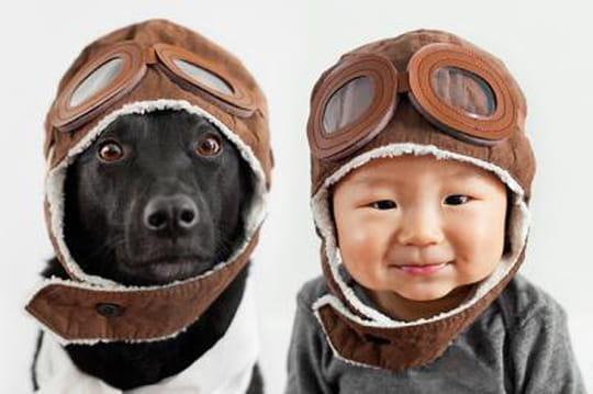 Les photos craquantes d'un bébé et son chien