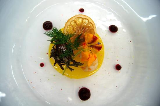Le Manoir des Impressionnistes  - Langoustines Rôties, gelée de clémentines, purée de betteraves, piment d'Espelette -