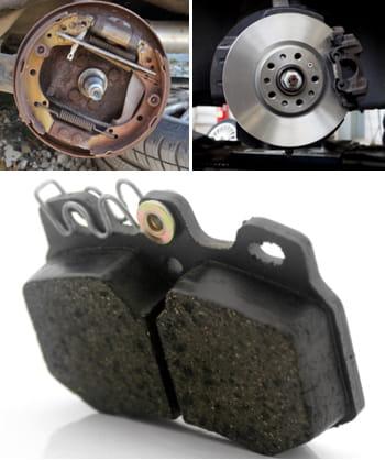 l'image du haut représente un frein àtambour, l'image dumilieu un frein
