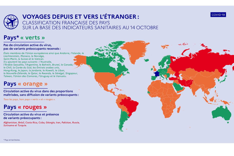 Voyage et Covid: nouveaux pays verts et orange, carte actualisée au 15octobre et infos