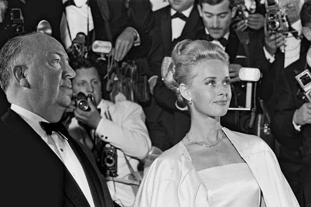 Alfred Hitchcock et Tippi Hedren à Cannes pour 'Les Oiseaux' en 1963
