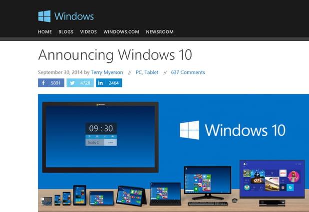 Windows passe du 8 au 10
