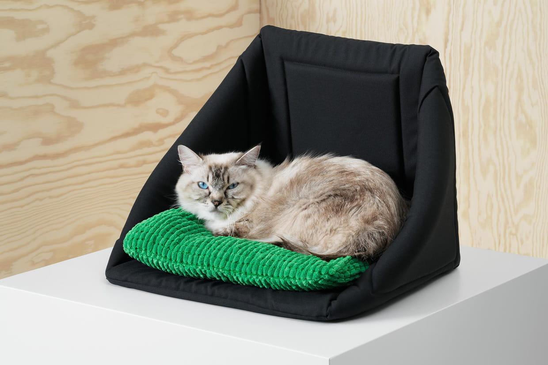 lit niche pour chat avec coussin. Black Bedroom Furniture Sets. Home Design Ideas