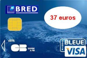16e ex aequo   Banque populaire Bred (Visa) : 37 euros par an