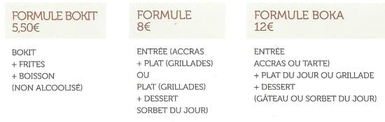Le Boka  - Formules -   © Le Boka