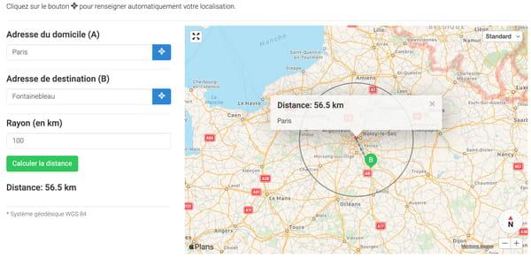Distance de 100 km à vol d'oiseau