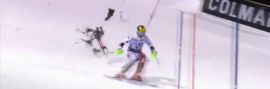 Marcel Hirscher frôlé par un drone en plein slalom [VIDEO]