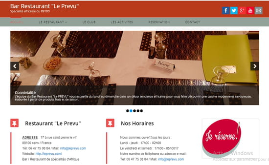 Restaurant : Restaurant Bar Le Prévu  - Page web Bar Restaurant le Prevu -   © leprevu