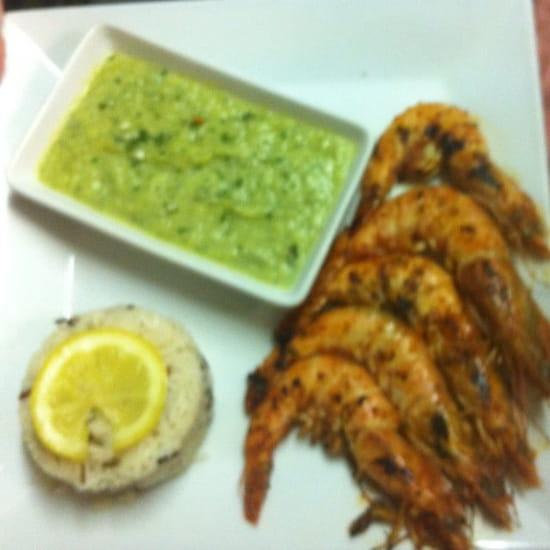 Plat : Spey brasserie  - Express du jour- poêlée de gambas- médaillon de riz- purée de celerie = 9,90€ -