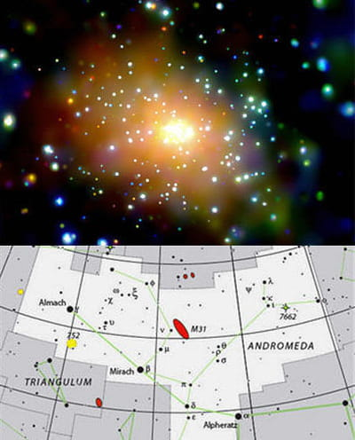 andromède est une large galaxie spiralée comme notre voie lactée. en-dessous :