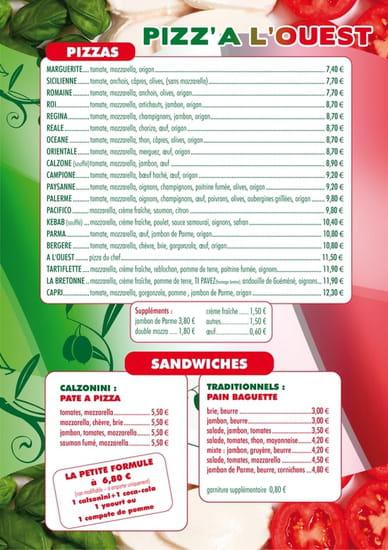 Pizz'a l'Ouest  - menu 1 -