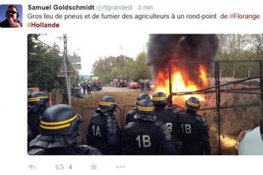 François Hollande, accueilli pardufumier, secache àFlorange