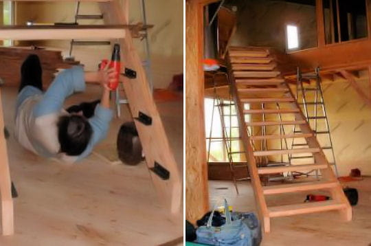 montage de l 39 escalier. Black Bedroom Furniture Sets. Home Design Ideas