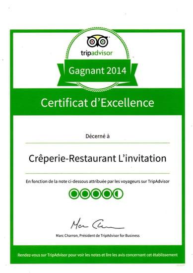 Crêperie-restaurant L'invitation  - certificat d'excellence depuis 2012 -