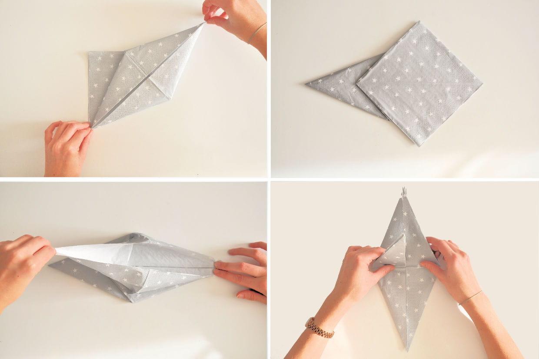 Pliage Serviette Facile Range Couverts pliage de serviette étoile : étapes 5 à 8