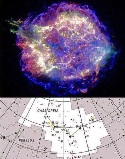 au-dessus : cassiopée a, correspondant aux restes d'une supernova qui a explosé