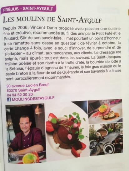 Les Moulins de Saint Aygulf  - Sélection Paris-Match Gastronomie sept 15 -