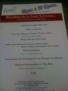 Chez Ludo  - Menu de la Saint Sylvestre -