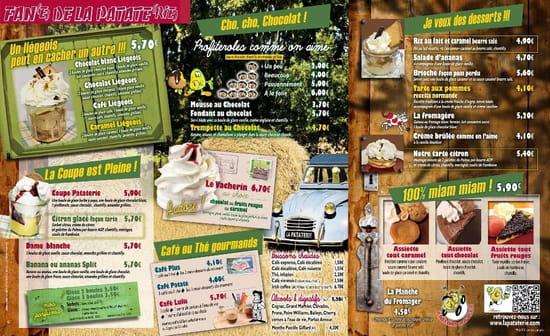La Pataterie  - Carte La Pataterie Lannion Les desserts -   © La Pataterie Lannion