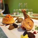 Le Vert mi Sel  -  Suprême de pintade fermière piquée au chorizo; tapenade & caviar d'aubergine ,polenta crémeuse au t -   © Magicpainters